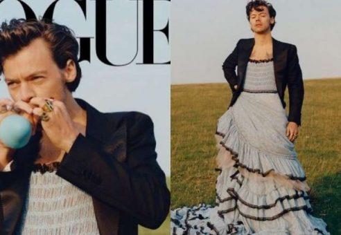 """Harry Stylesas pirmasis vyras, pasirodęs """"Vogue"""" viršelyje, sulaukė daug prieštaringų nuomonių"""